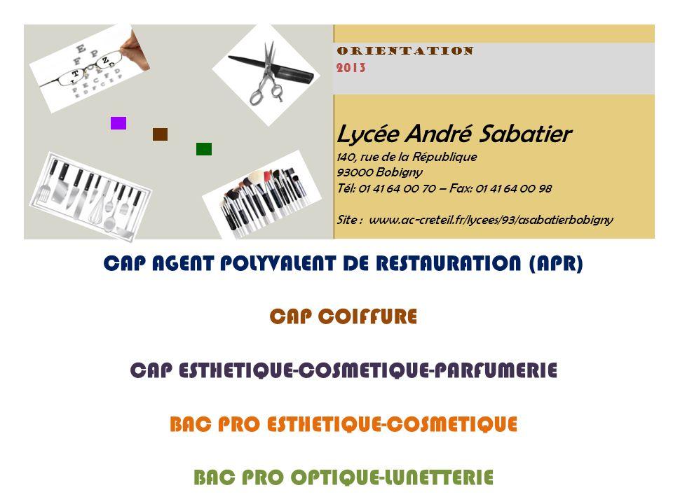 Lycée André Sabatier CAP AGENT POLYVALENT DE RESTAURATION (APR)