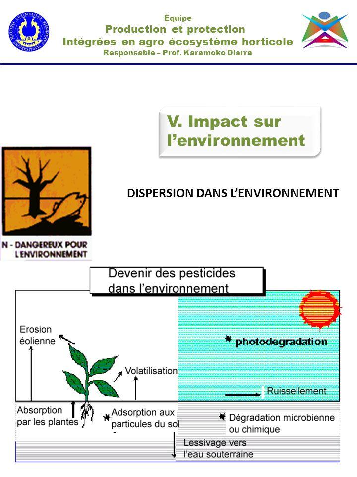 V. Impact sur l'environnement DISPERSION DANS L'ENVIRONNEMENT