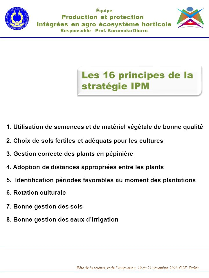 Les 16 principes de la stratégie IPM Production et protection