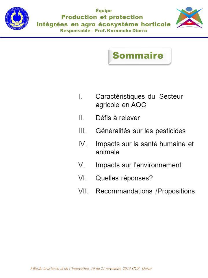 Sommaire Caractéristiques du Secteur agricole en AOC Défis à relever