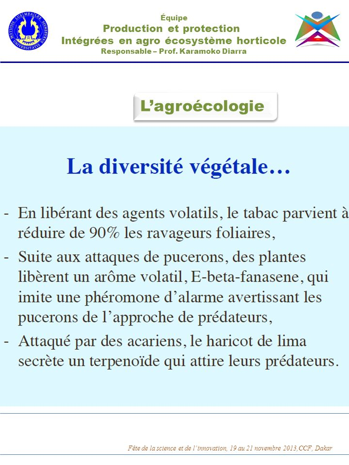 L'agroécologie Production et protection