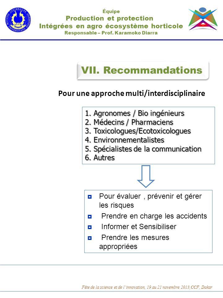 VII. Recommandations Pour une approche multi/interdisciplinaire