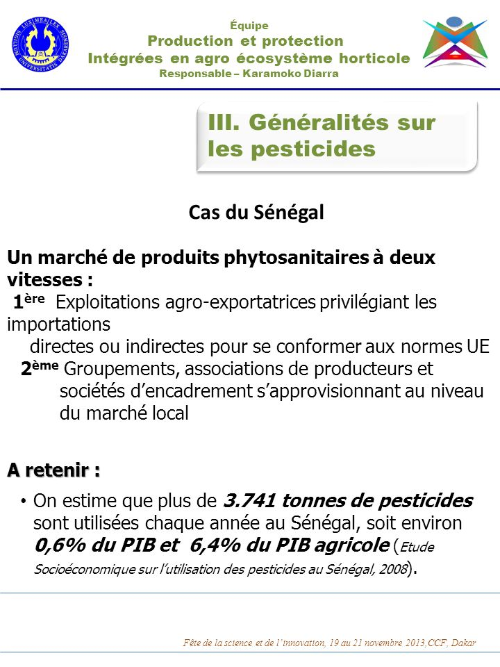 III. Généralités sur les pesticides Cas du Sénégal