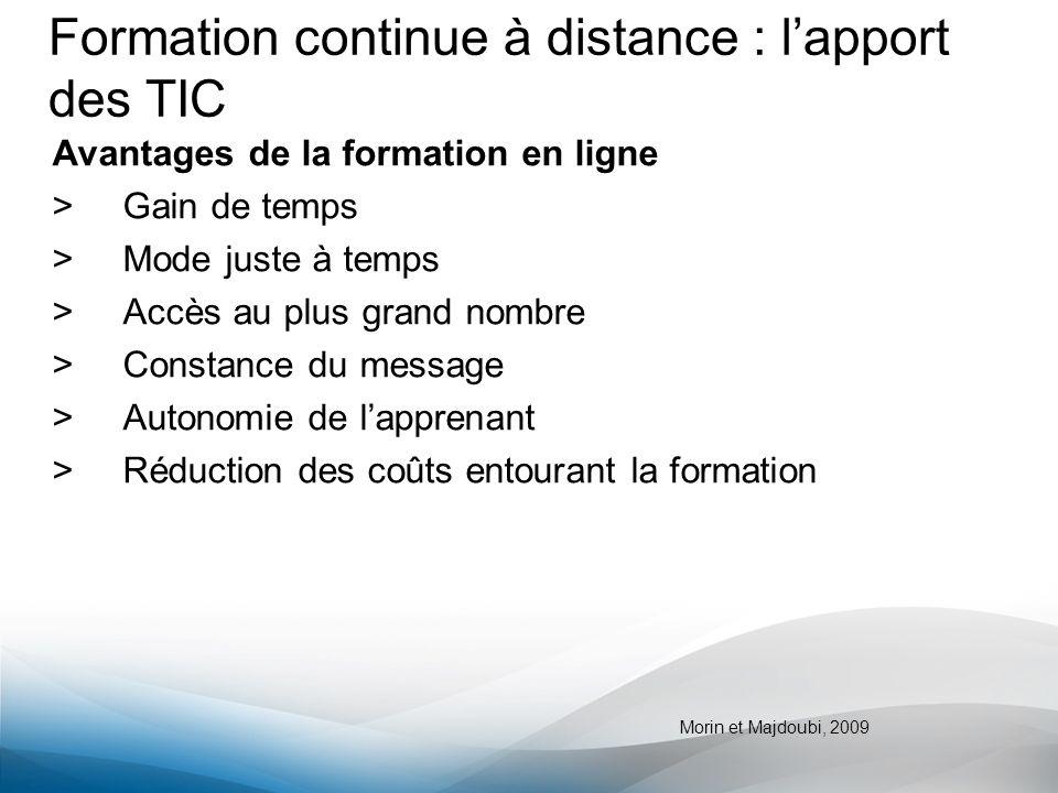 Formation continue à distance : l'apport des TIC