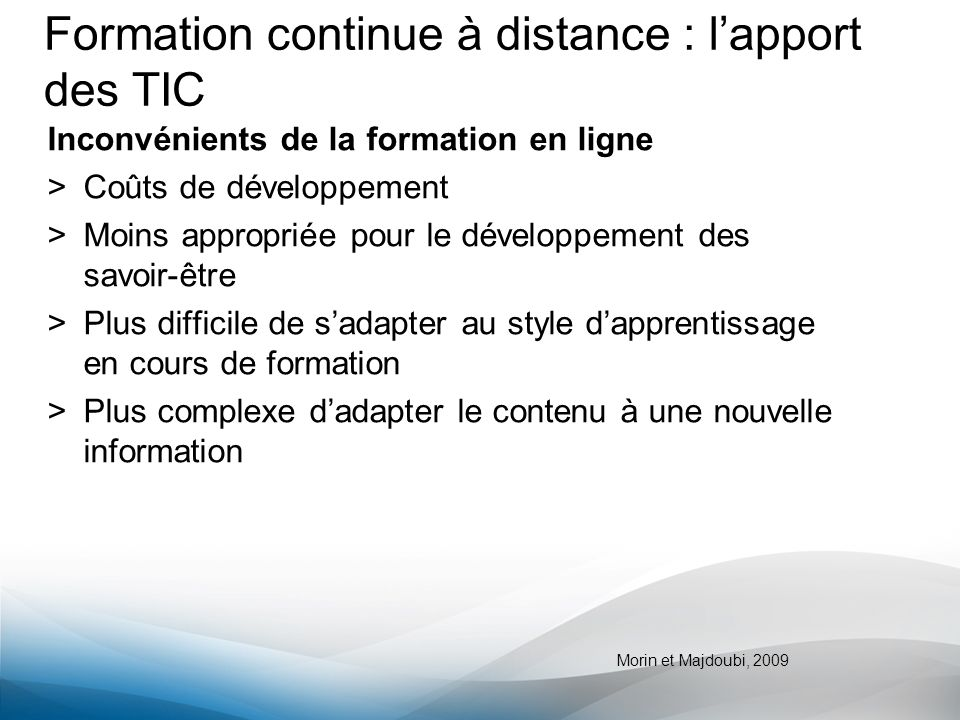 Formation continue à distance : l'apport des TIC