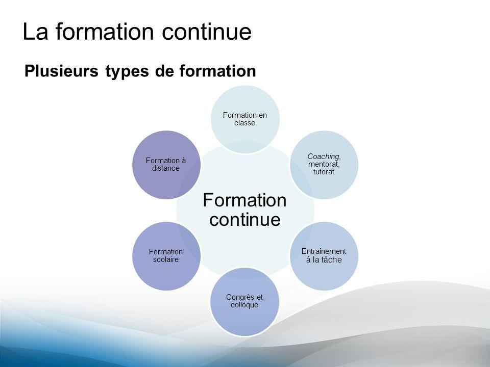 La formation continue Formation continue Plusieurs types de formation