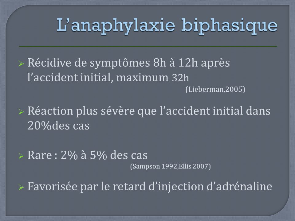 L'anaphylaxie biphasique