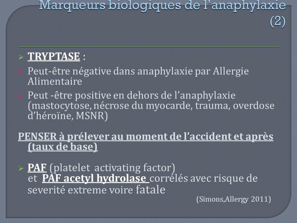 Marqueurs biologiques de l'anaphylaxie (2)
