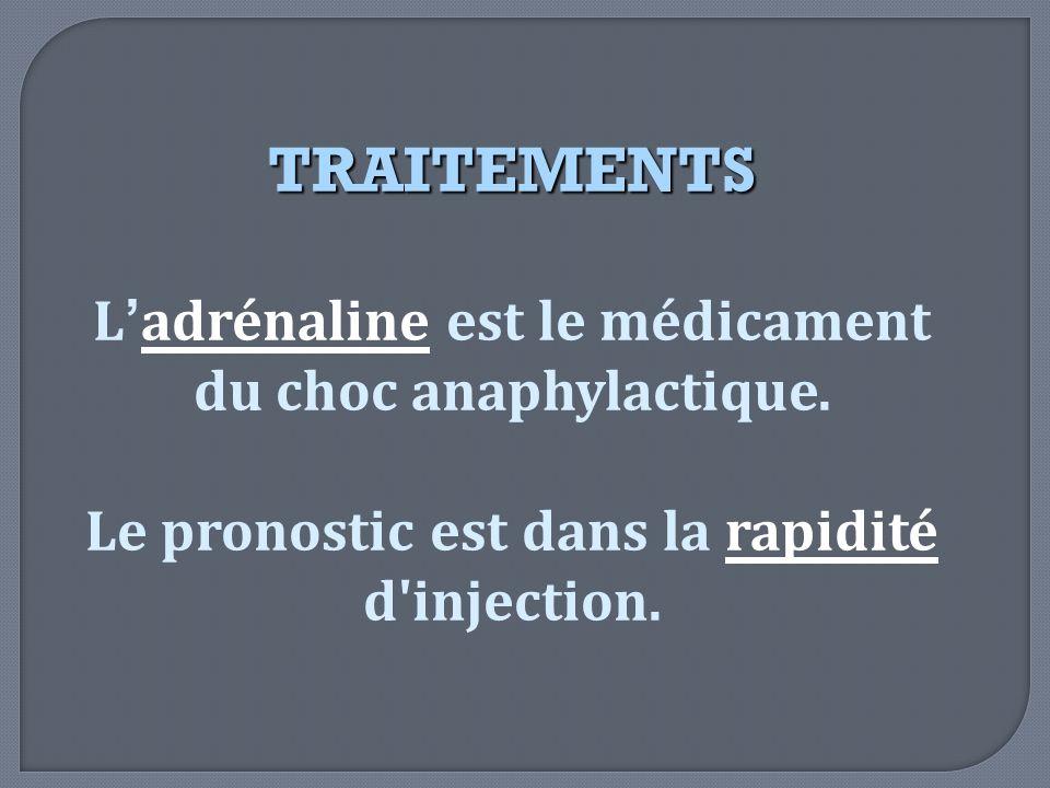 TRAITEMENTS L'adrénaline est le médicament du choc anaphylactique