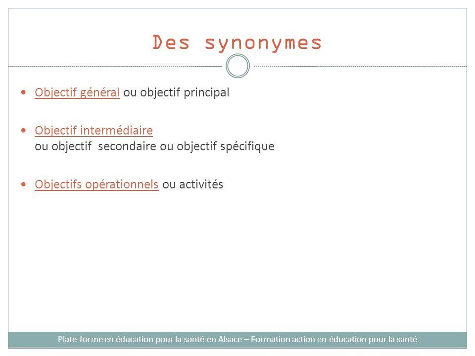 Des synonymes Objectif général ou objectif principal