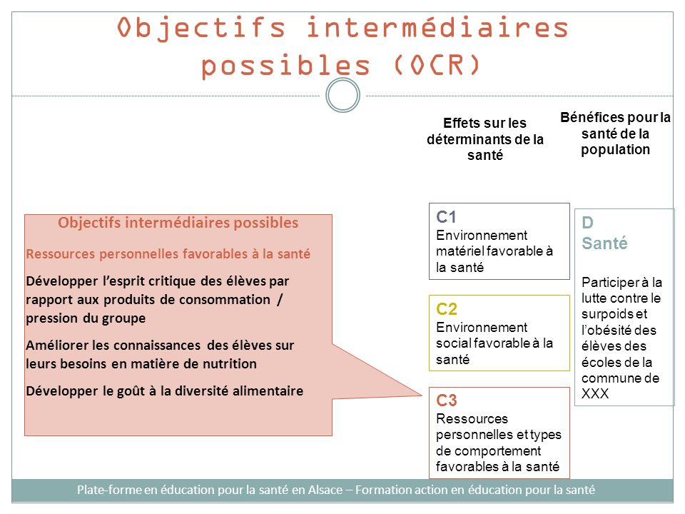 Objectifs intermédiaires possibles (OCR)
