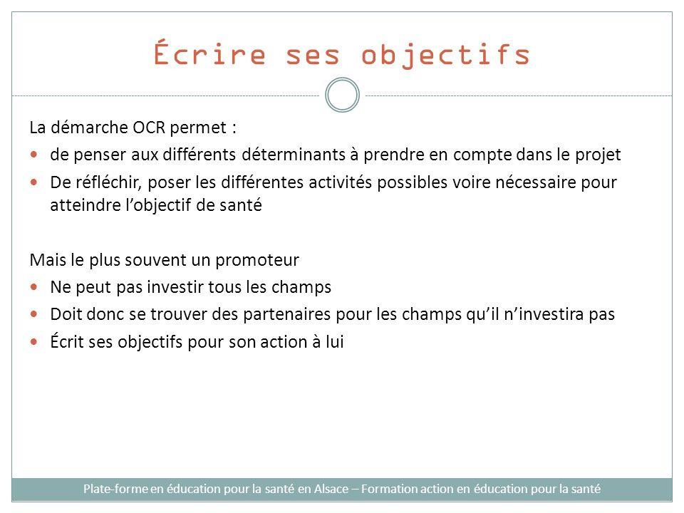 Écrire ses objectifs La démarche OCR permet :