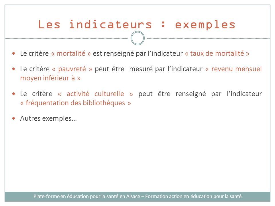 Les indicateurs : exemples