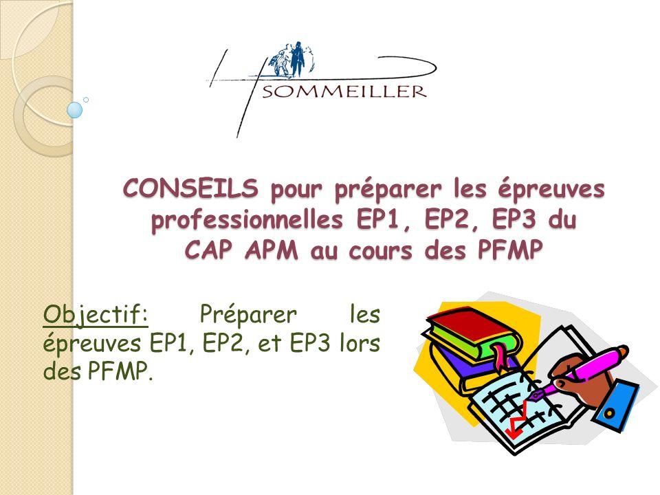Objectif: Préparer les épreuves EP1, EP2, et EP3 lors des PFMP.