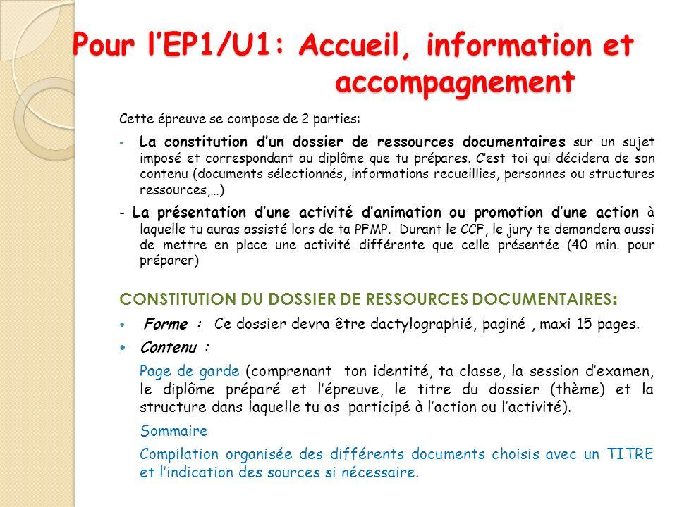 Pour l'EP1/U1: Accueil, information et accompagnement