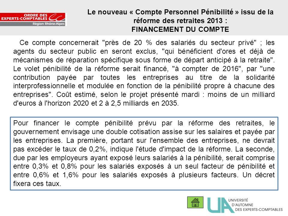Le nouveau « Compte Personnel Pénibilité » issu de la réforme des retraites 2013 :