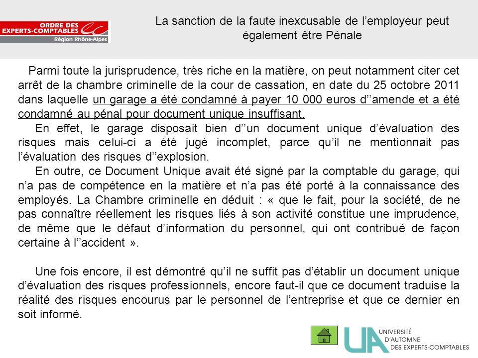 La sanction de la faute inexcusable de l'employeur peut également être Pénale