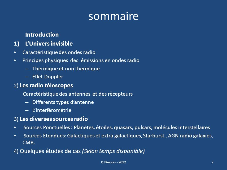 sommaire Introduction L'Univers invisible