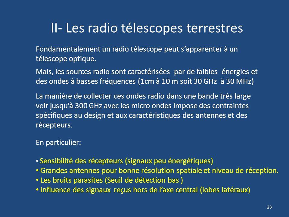 II- Les radio télescopes terrestres
