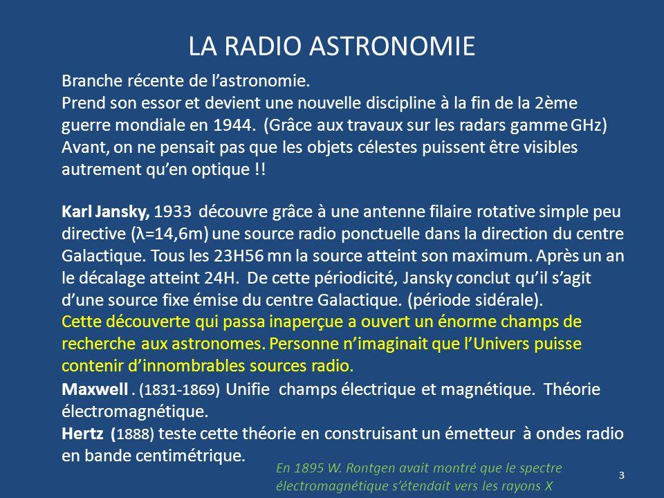 LA RADIO ASTRONOMIE Branche récente de l'astronomie.