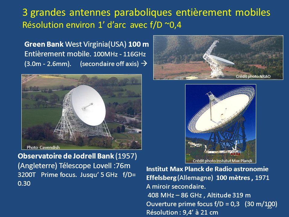 3 grandes antennes paraboliques entièrement mobiles