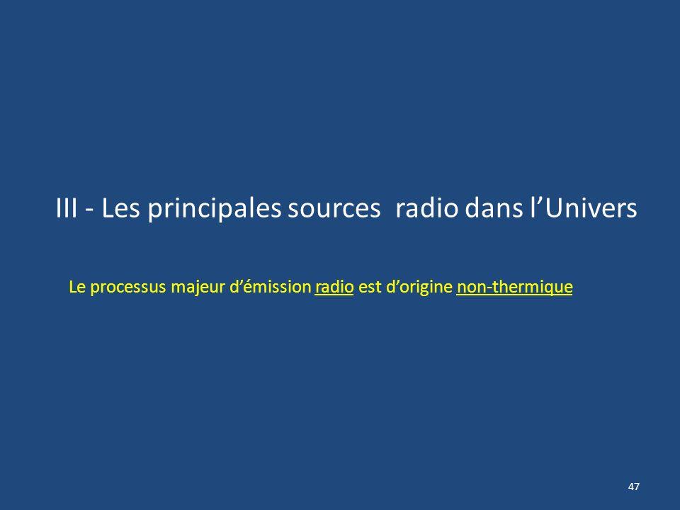 III - Les principales sources radio dans l'Univers
