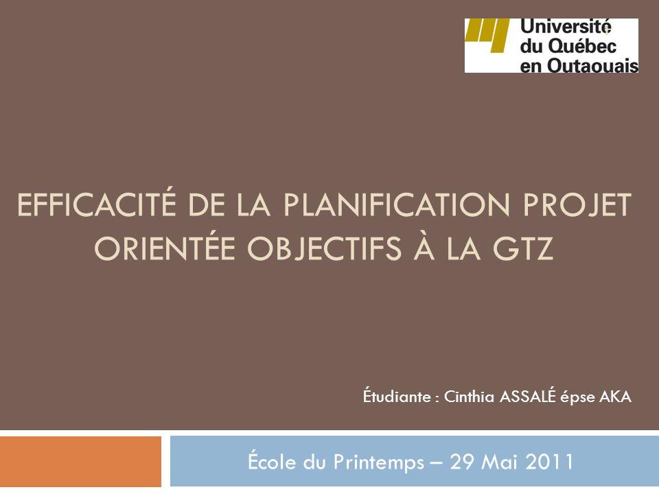 Efficacité de la planification projet orientée objectifs à la gtz