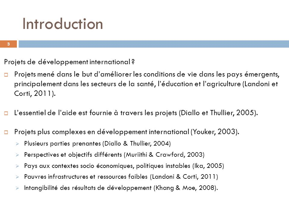 Introduction Projets de développement international