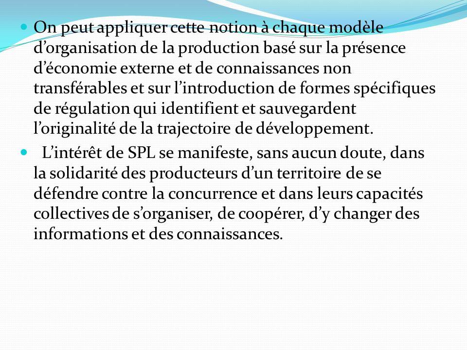 On peut appliquer cette notion à chaque modèle d'organisation de la production basé sur la présence d'économie externe et de connaissances non transférables et sur l'introduction de formes spécifiques de régulation qui identifient et sauvegardent l'originalité de la trajectoire de développement.
