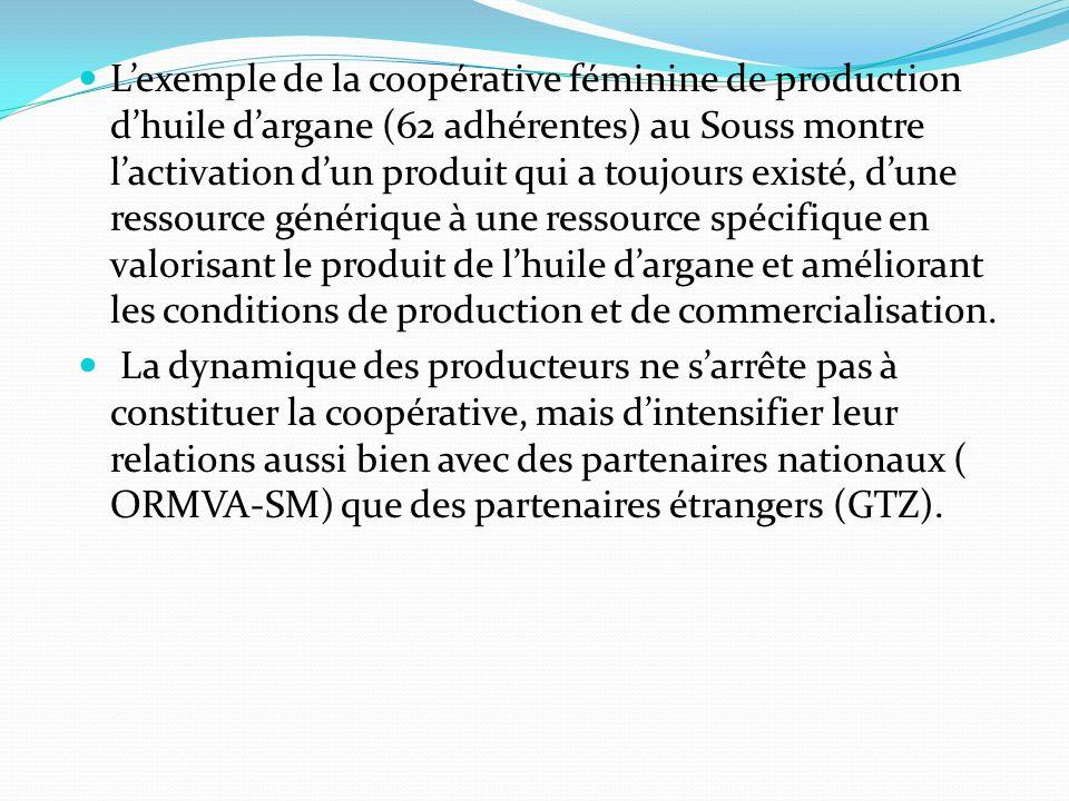 L'exemple de la coopérative féminine de production d'huile d'argane (62 adhérentes) au Souss montre l'activation d'un produit qui a toujours existé, d'une ressource générique à une ressource spécifique en valorisant le produit de l'huile d'argane et améliorant les conditions de production et de commercialisation.