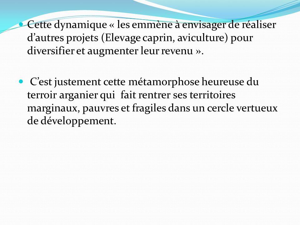 Cette dynamique « les emmène à envisager de réaliser d'autres projets (Elevage caprin, aviculture) pour diversifier et augmenter leur revenu ».
