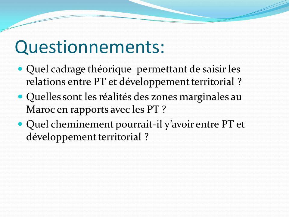 Questionnements: Quel cadrage théorique permettant de saisir les relations entre PT et développement territorial