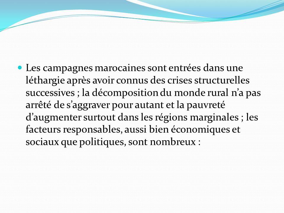 Les campagnes marocaines sont entrées dans une léthargie après avoir connus des crises structurelles successives ; la décomposition du monde rural n'a pas arrêté de s'aggraver pour autant et la pauvreté d'augmenter surtout dans les régions marginales ; les facteurs responsables, aussi bien économiques et sociaux que politiques, sont nombreux :