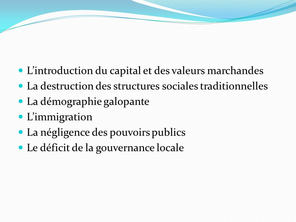 L'introduction du capital et des valeurs marchandes