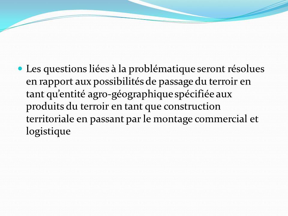 Les questions liées à la problématique seront résolues en rapport aux possibilités de passage du terroir en tant qu'entité agro-géographique spécifiée aux produits du terroir en tant que construction territoriale en passant par le montage commercial et logistique