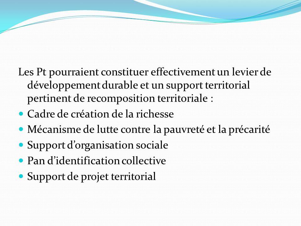 Les Pt pourraient constituer effectivement un levier de développement durable et un support territorial pertinent de recomposition territoriale :