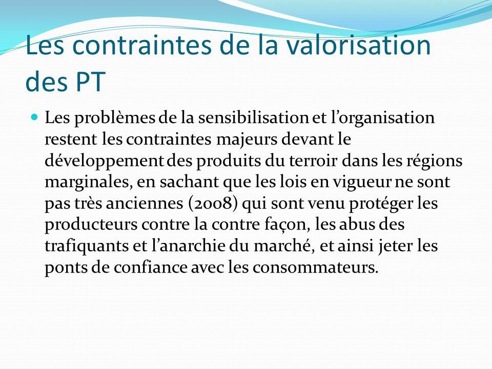 Les contraintes de la valorisation des PT