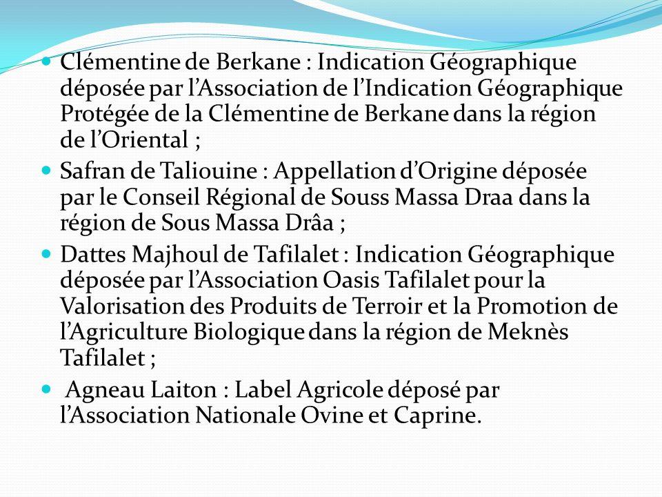 Clémentine de Berkane : Indication Géographique déposée par l'Association de l'Indication Géographique Protégée de la Clémentine de Berkane dans la région de l'Oriental ;