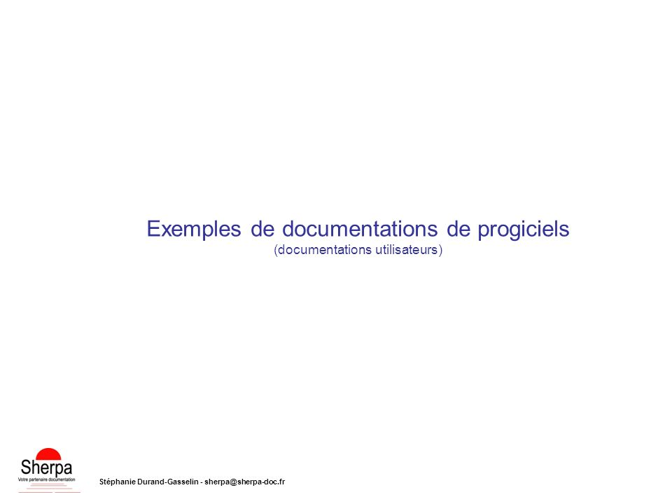 Exemples de documentations de progiciels (documentations utilisateurs)