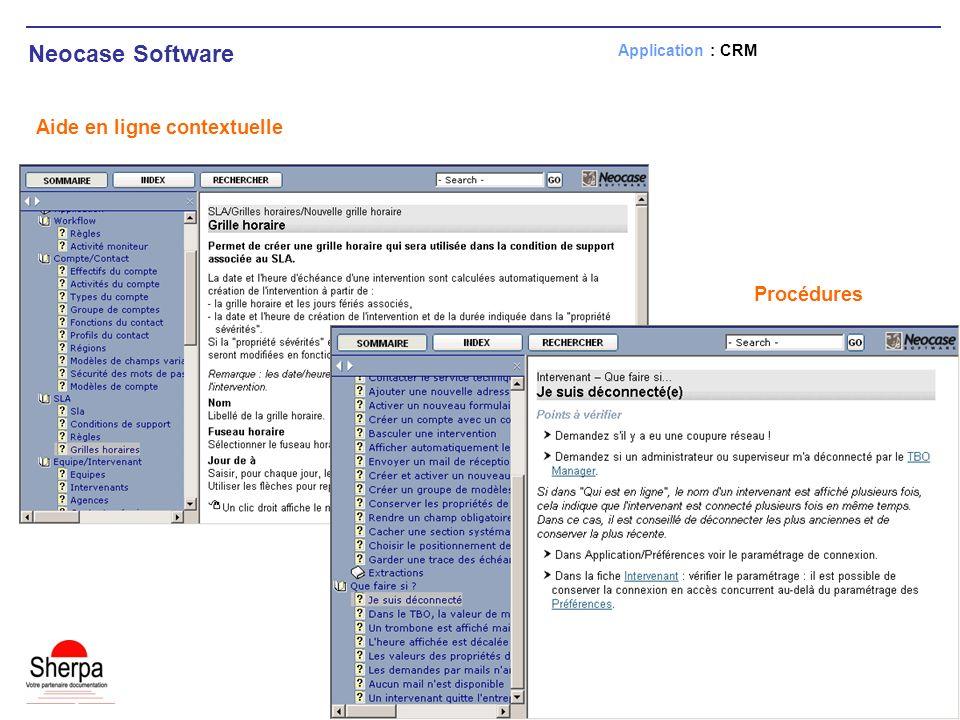 Neocase Software Aide en ligne contextuelle Procédures