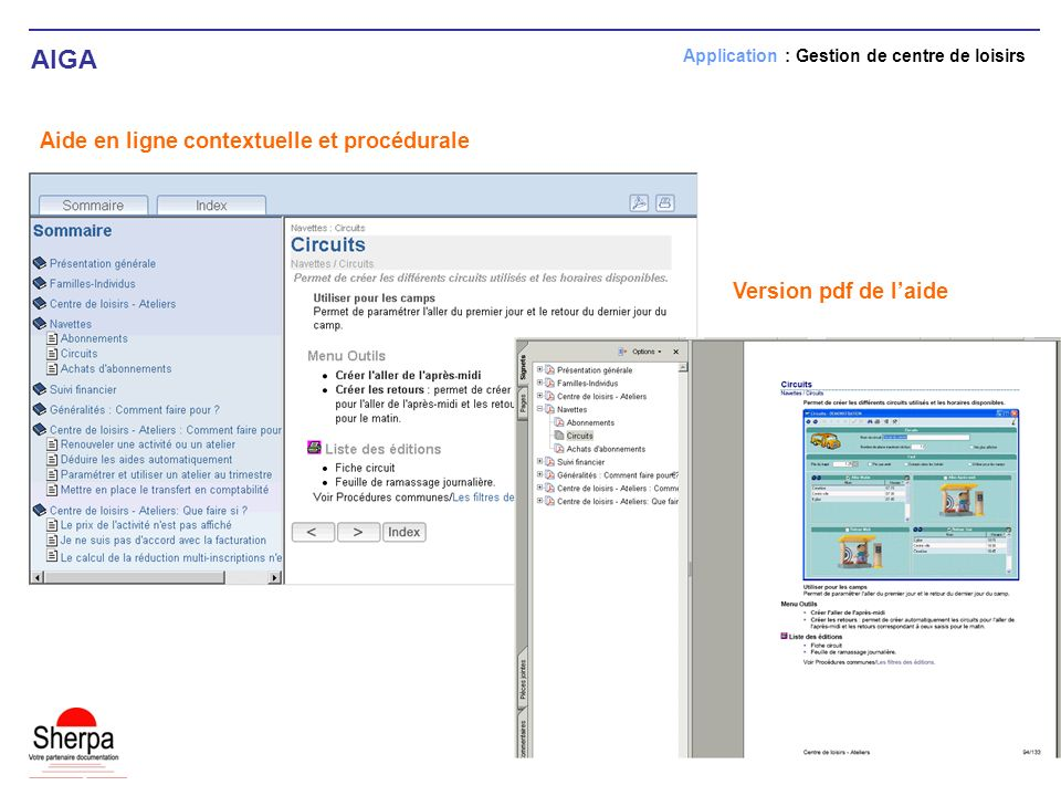 AIGA Aide en ligne contextuelle et procédurale Version pdf de l'aide