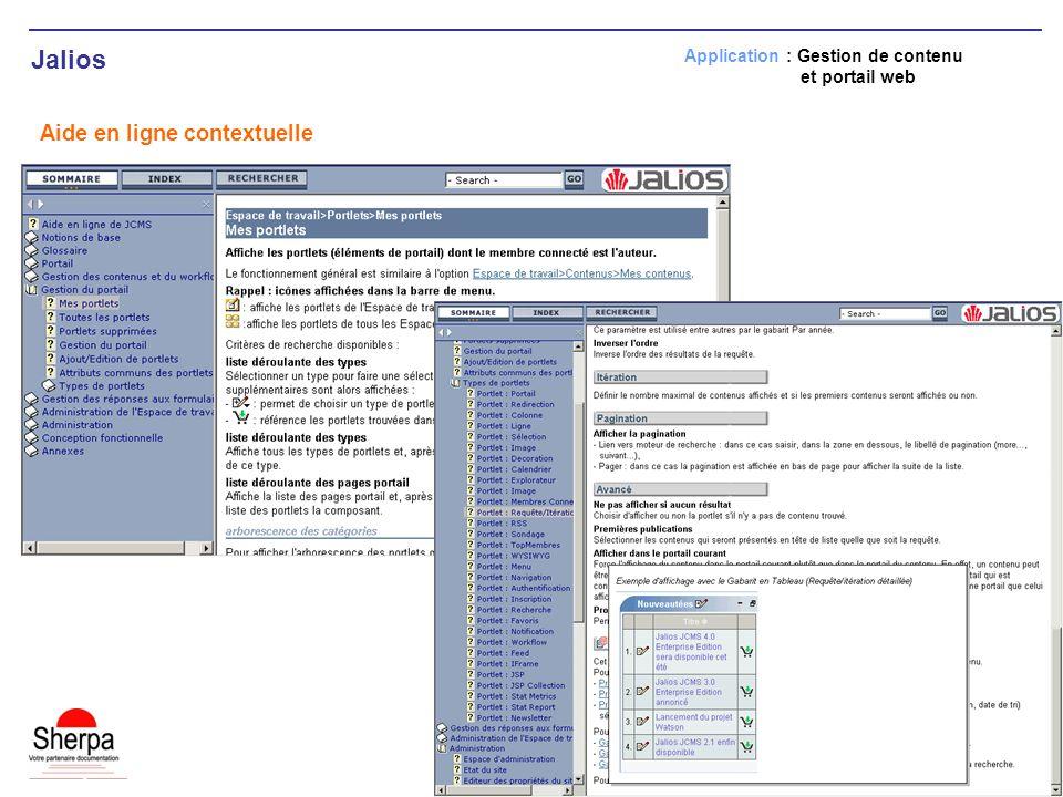 Jalios Aide en ligne contextuelle