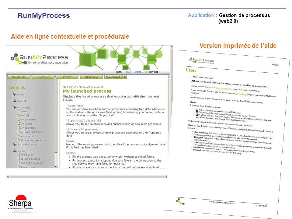 RunMyProcess Aide en ligne contextuelle et procédurale