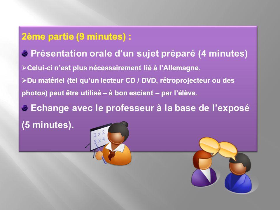 Présentation orale d'un sujet préparé (4 minutes)