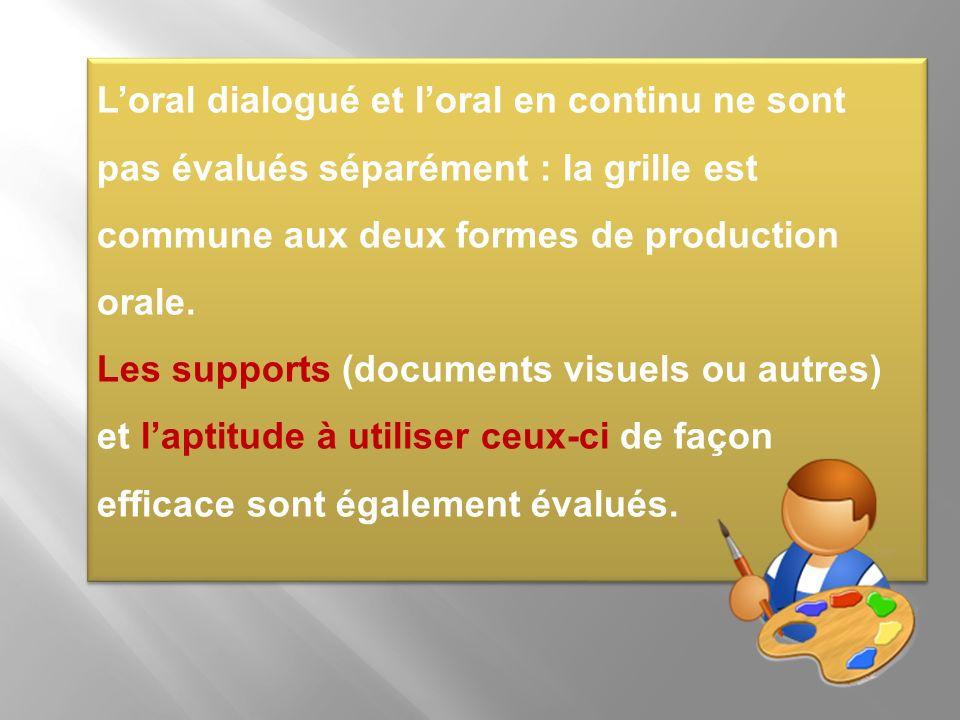 L'oral dialogué et l'oral en continu ne sont pas évalués séparément : la grille est commune aux deux formes de production orale.