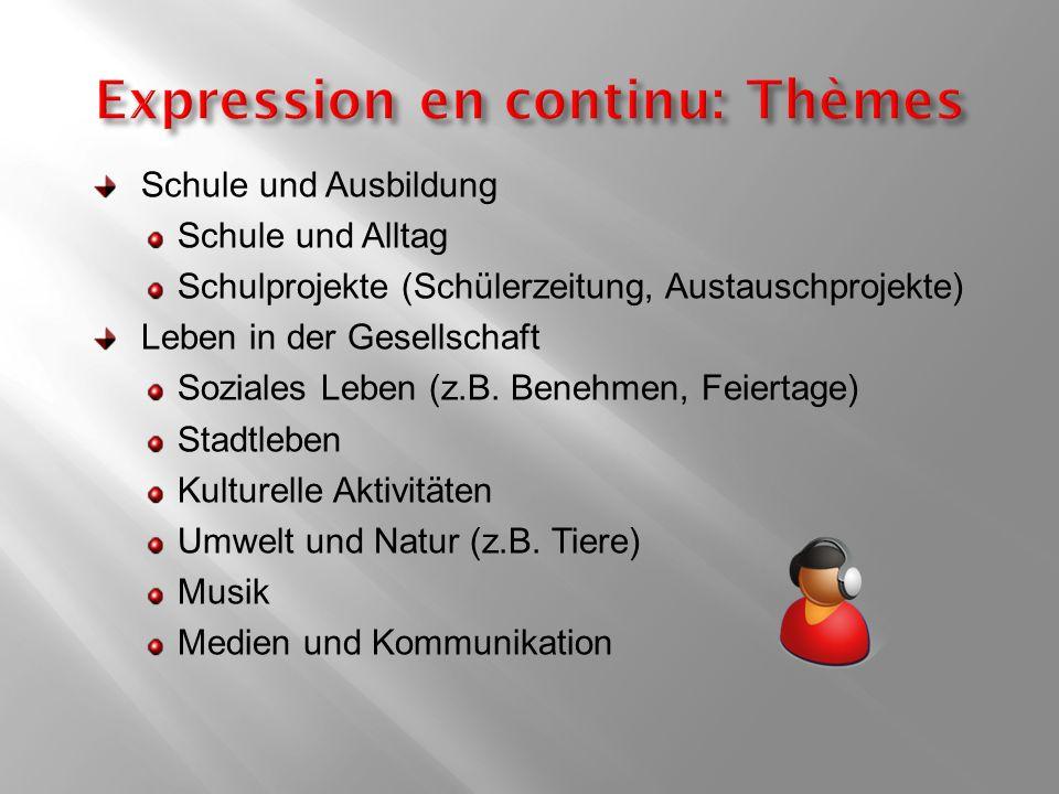Expression en continu: Thèmes
