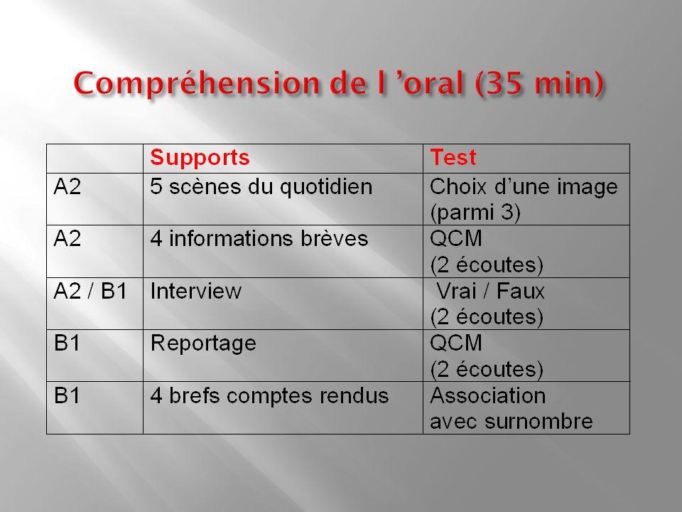 Compréhension de l 'oral (35 min)