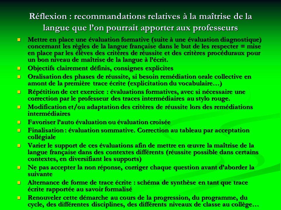 Réflexion : recommandations relatives à la maîtrise de la langue que l'on pourrait apporter aux professeurs