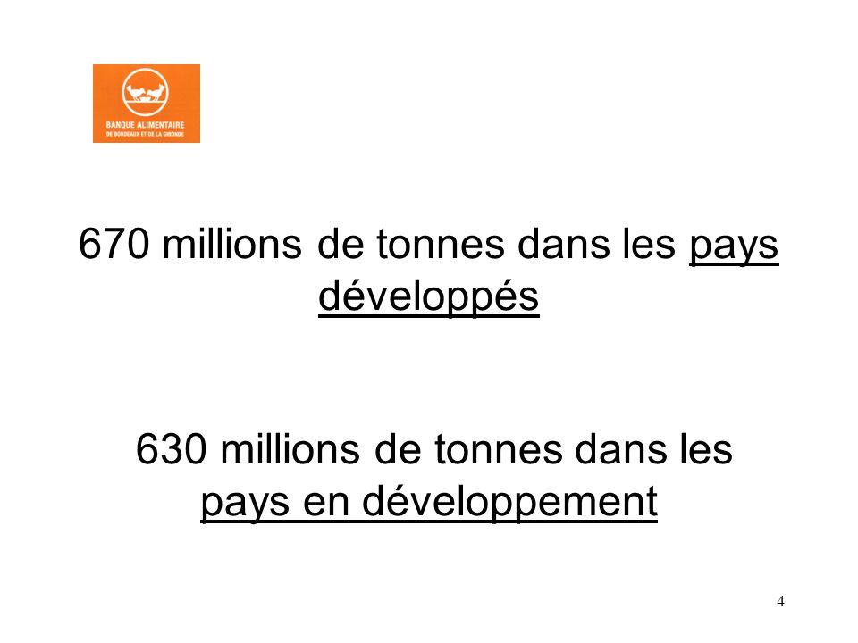 670 millions de tonnes dans les pays développés 630 millions de tonnes dans les pays en développement