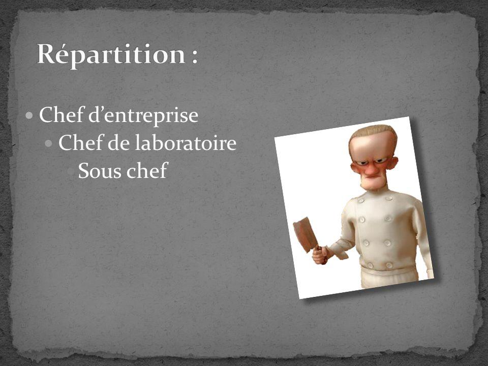 Répartition : Chef d'entreprise Chef de laboratoire Sous chef